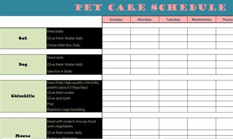 pet care schedule  excel templates