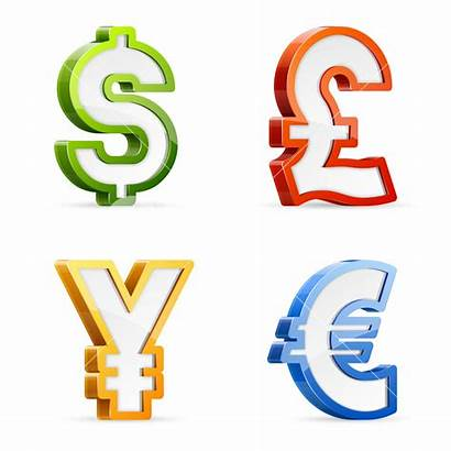 Symbols Currency Valuta Symbolen Colorful Symbol Glossy
