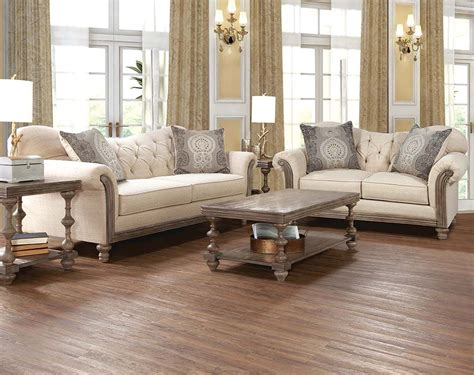 furniture reclining loveseat sofa set with tufting and wood siam parchment