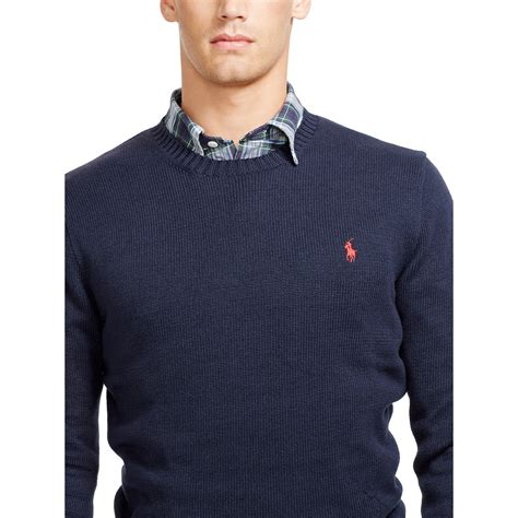 ralph polo sweaters polo ralph cotton crewneck sweater in blue for