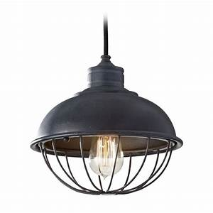 Retro style mini pendant light with bulb cage shade