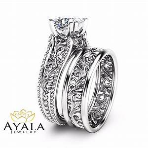 Cushion diamond wedding ring set unique 14k white gold for Wedding ring unique