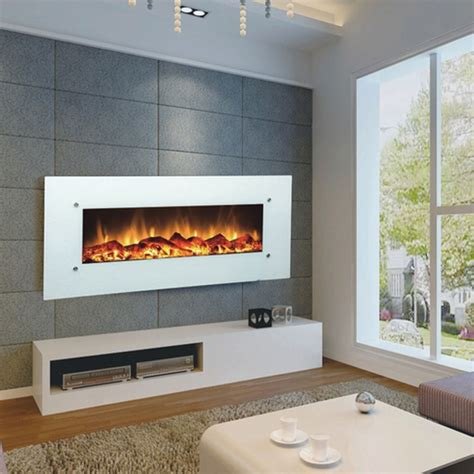 electric wall fireplace touchstone ivory 50 inch electric wall mounted fireplace