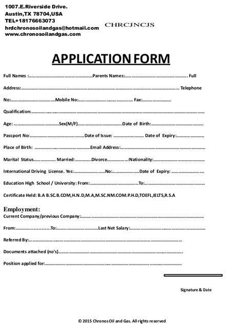 CHRONOS APPLICATION AND INTERVIEW FORM.