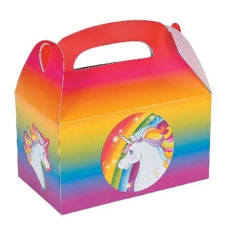 rainbow unicorn treat boxes   kids themed party