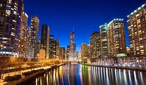 Chicago buildings skyscrapers river embankment night city ...