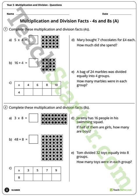 number worksheets multiplication and division year 3