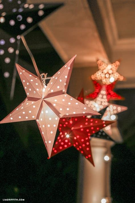 diy paper star lights garland     july