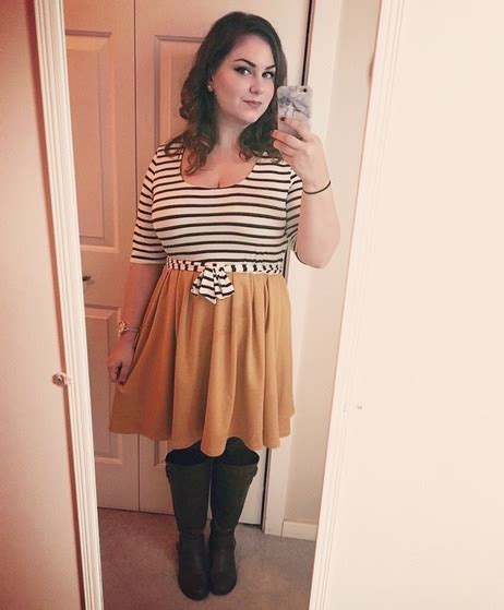 sweater fab 39 000 in the near twofer striped dress in marigold modcloth