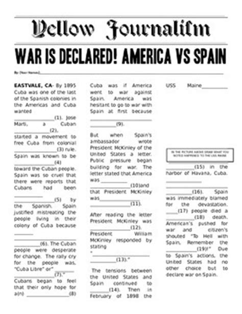 Sinking Of The Uss Maine Yellow Journalism by Yellow Journalism Mad Libs Style Mad Libs And American