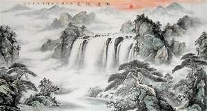 Big Waterfall Mountain Landscape Abstract art Chinese Ink ...