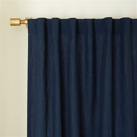 belgian flax linen curtain midnight west elm