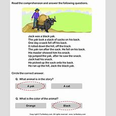 Reading Comprehension Black Yak Worksheet  Turtle Diary