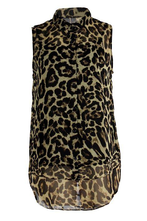 leopard print blouses womens plus size leopard print sleeveless chiffon