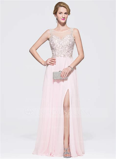 lineprincess scoop neck floor length chiffon tulle prom