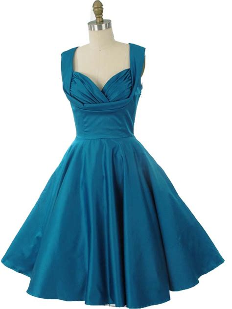 vintage inspired teal blue swing dress  style party dresses