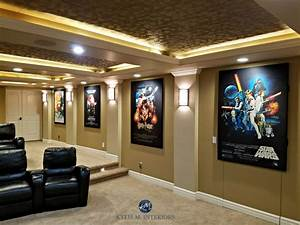 home theatre room with textured acoustic tile ceiling With kitchen colors with white cabinets with star wars panel wall art
