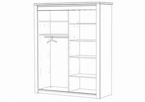 Armoire Noir Et Blanc : armoire 2 portes coulissantes bois flora laque perle meubles minet ~ Preciouscoupons.com Idées de Décoration