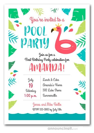 pink flamingo pool float swimming pool party invitations