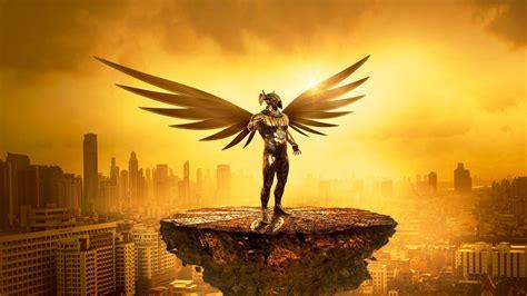 desktop wallpaper fantasy angel golden cityscape digital art hd image picture background