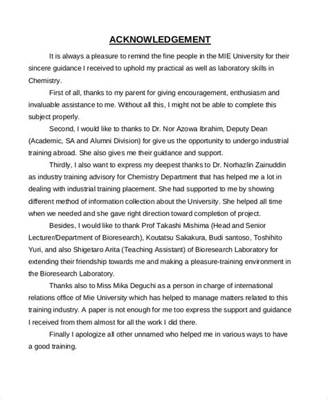 acknowledgement report samples docs word  pages