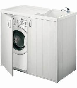 Bac A Laver : bac laver avec meuble 2 portes banyo pour sanitaires ~ Melissatoandfro.com Idées de Décoration