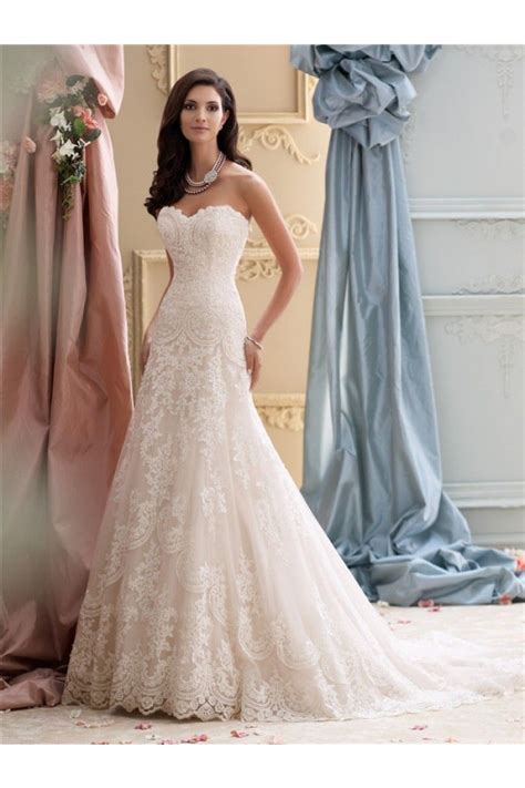 Glamour A Line Strapless Vintage Lace Wedding Dress Court