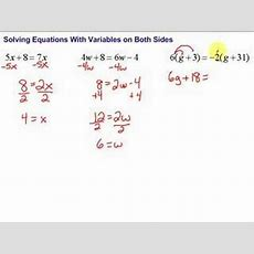 Lesson 75 Solving Equations With Variables On Both Sides Youtube