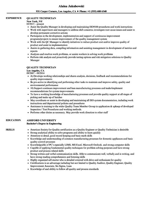 Technician Resume by Quality Technician Resume Sles Velvet
