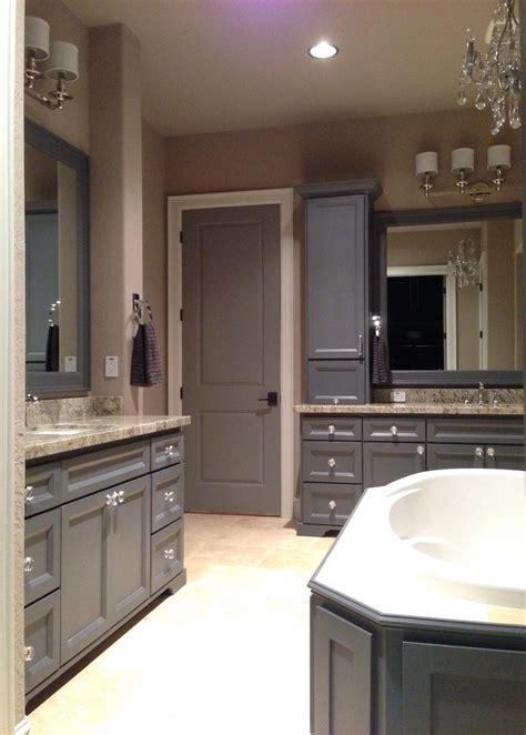 grey master bathroom dark grey cabinets  bianco