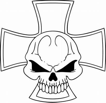 Skull Coloring Cross Pages Flaming Template