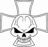 Skull Coloring Cross Pages Flaming Template sketch template
