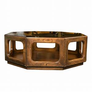 Octagonal midcentury glass top coffee table for sale at for Octagon glass top coffee table