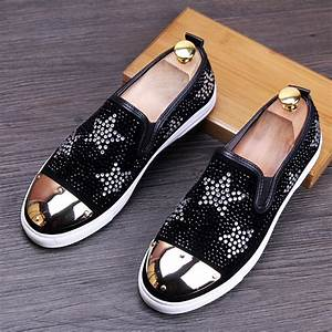 new 2017 men loafers rhinestone slip on flat casual shoes ...