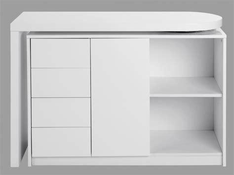 bureau console extensible 2 en 1 bureau extensible pavel 4 tiroirs 1 porte laqué blanc