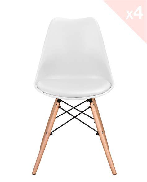 chaise design blanc lot de 4 chaises dsw avec coussin nasi kayelles com