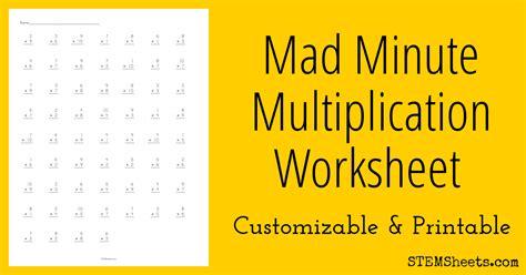 Mad Math Minute Worksheets  Look Multiplication Mad Minute Math Drills Worksheetsmath Magician