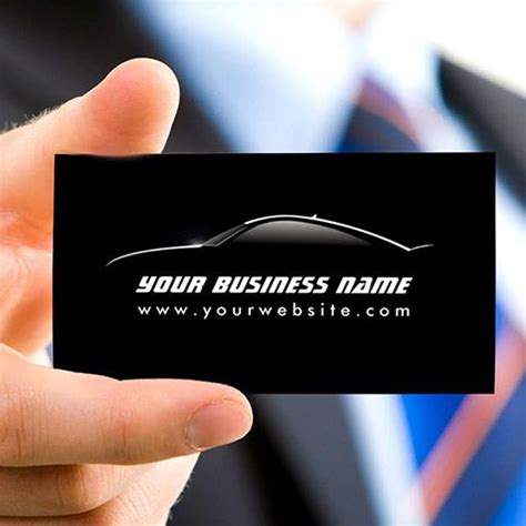 customizable cool car outline auto repair business card