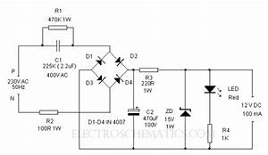 Electrical Miracles  Transformer Less Power Supply Circuit Diagram