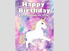 Galaxy Unicorn Happy Birthday Card Birthday & Greeting