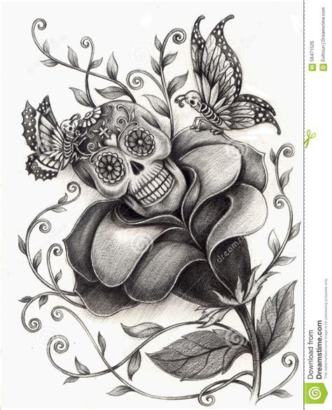 Skull Art Surreal Day The Dead Stock Illustration