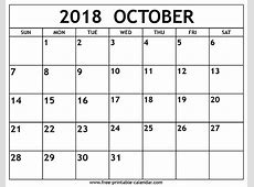October 2018 Calendar Takvim Pinterest Calendar Printable