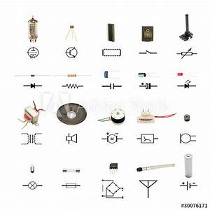 U0026quot Electronic Components With Circuit Schematic Symbols On
