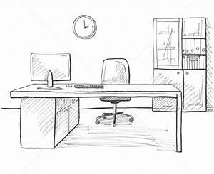 Computer Arbeitsplatz Möbel : b ro skizze stil hand gezeichnet m bel computer stock foto nadiia oborska ~ Indierocktalk.com Haus und Dekorationen