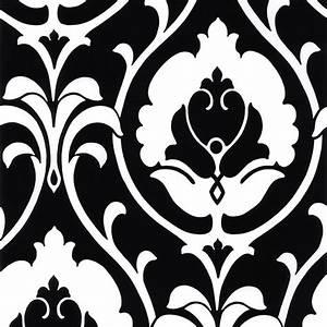Floral White and Black Damask Wallpaper in 11231 Farm to ...