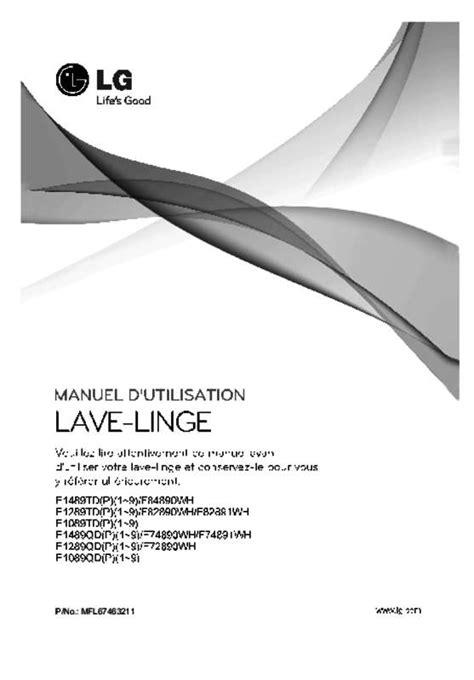 mode d emploi lave linge lg f72891wh trouver une solution 224 un probl 232 me lg f72891wh notice lg
