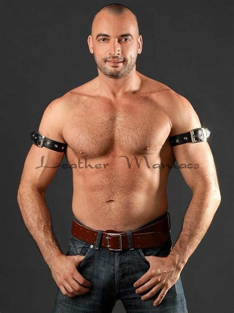 black leather upper arm biceps cuff strap bracelet ebay