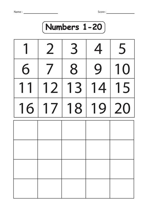 number worksheets for kindergarten 1 20 writing numbers