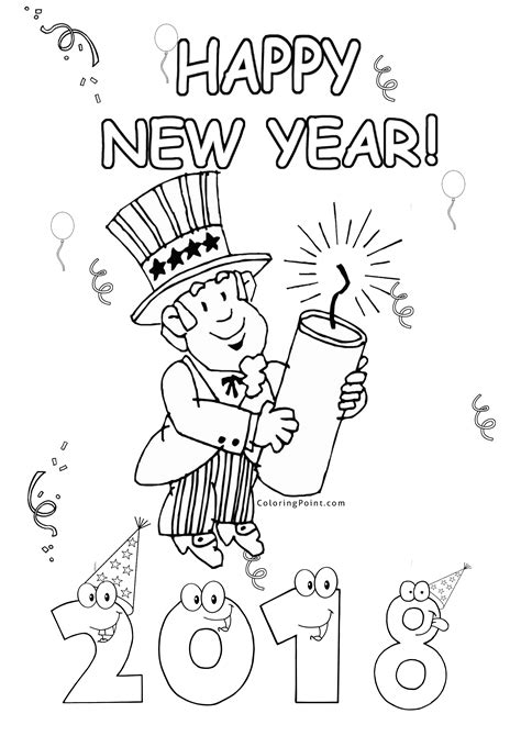 Kleurplaat Happy New Year by Happy New Year 2018 Fireworks Coloring Page Coloring