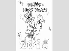 happy new year 2018 fireworks coloring page Coloring Point